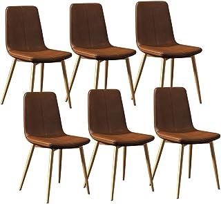 LSRRYD Sillas De Cocina 6 Sillas Moderno Sillas De Comedor Taburete Bar Lounge con  Patas De Metal Asiento Cuero PU Y Respaldos por Sala Cuarto Oficina (Color : Brown)