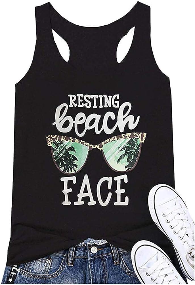 Qrupoad Womens Resting Beach Face Tank Racerback Summer Fitness Workout Tanks Tops T-Shirt Cami
