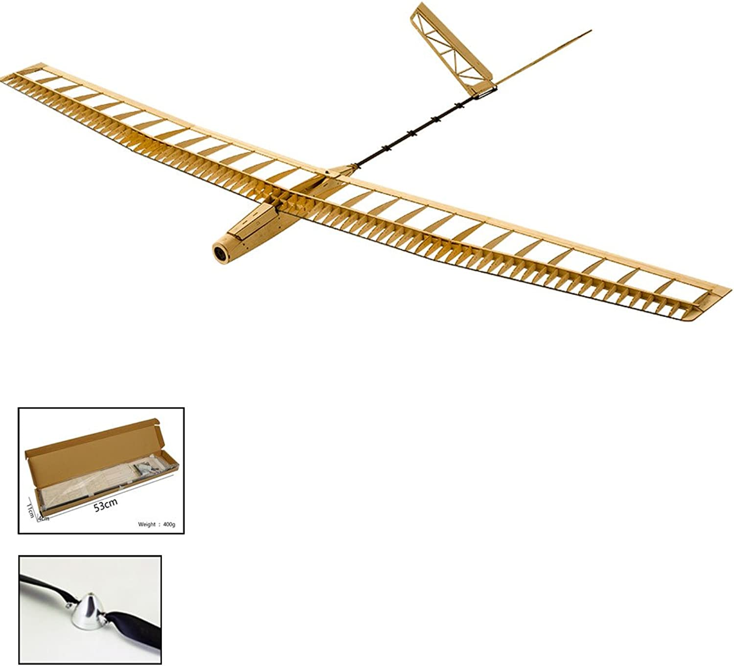 Dancing Wings Hobby RC Glider Balsa Wood Model Plane Kit, 1.4M Laser Cut UZI Airplane Model, 3CH RC Electric Remote Control Aeroplane Model Building Kits for Adults (F1401C)