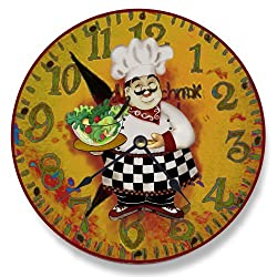 Stupell Industries Italian Chef With Salad Vanity Wall Clock, 12 x 0.4 x 12, Multi-Color