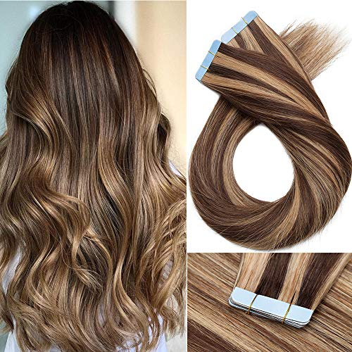 Tape in Hair Extension Adesive Capelli Veri- 60cm 100g 40 Fasce #4/27 Marrone Cioccolato/Biondo Scuro- 100% Remy Human Hair