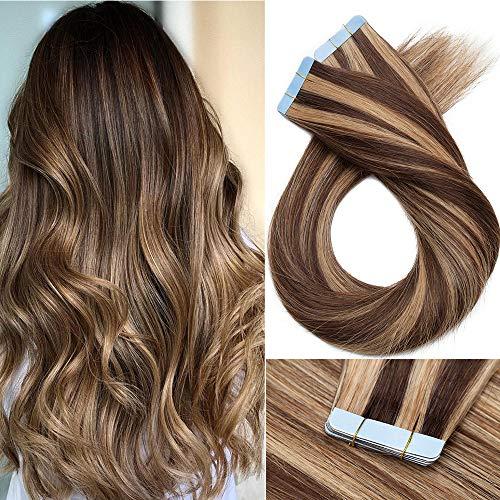 Extension Biadesive Capelli Veri con Mechè- 40cm 100g 40 ciocche #4/27 Marrone Cioccolato/Biondo Scuro - 100% Remy Hair Lisci