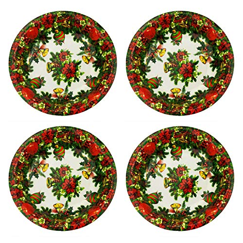 "Orgrimmar 9.6"" Round Plastic Party Plate Serving Tray Appetizer Container Fruit Platter for Christmas(4PCS)"