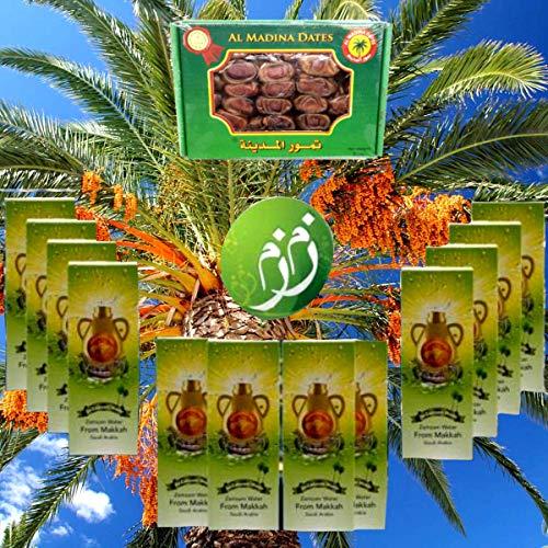 Mecca Zamzam Water 12 Bottles 500ml from Saudi Arabia with Al Madina Saudi Dates 2Lb /907g ماء زمزم من مكة الكرمة 12 عبوة مع علبة تمور المدينة المنورة