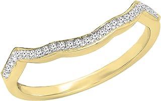 Dazzlingrock Collection - Banda apilable para mujer con circonitas cúbicas redondas, oro de 10 quilates