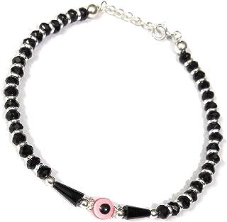 3c318411d Miya's Emporium - Pure 925 Sterling Silver Evil Eye Nazariya Anklet  Nazariya with Black Beads Born