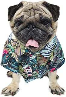 LAMONDE Hawaiian Dog Shirt, Summer Dog Clothes Apparel, Puppy Cats Camp Luau Outfits Costume for French Bulldog, Pug
