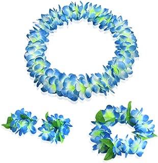 Hawaiian Luau blue flower Leis Jumbo necklaces bracelets headband set
