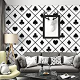 yhyxll Fond d'écran TV Papier Peint Noir et Blanc à Carreaux de Forme géométrique