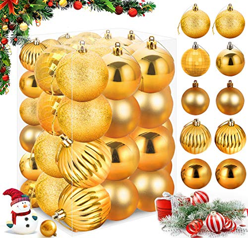 XinXu 48ct Gold Christmas Balls Ornaments,Premium Shatterproof Christmas Baubles for Xmas Christmas Tree,Hanging Ball for Holiday Wedding Party Decoration (1.57in 2.36in Gold)