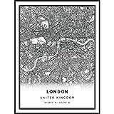 Squareious London map Poster Print | Modern Black and White Wall Art | Scandinavian Home Decor | United Kingdom City Prints Artwork | Fine Art Posters 8.5x11