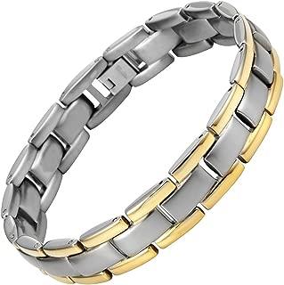 Mens Two Tone Titanium Lightweight Bracelet Adjustable with Gift Box