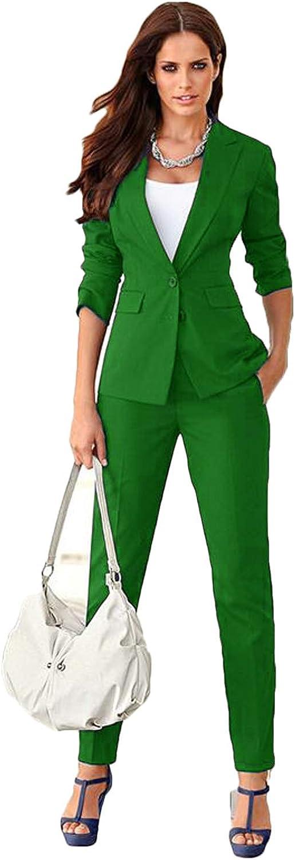 Womens Business Suits 2 Piece Blazer Set Slim Fit FemaleTrouser Suits