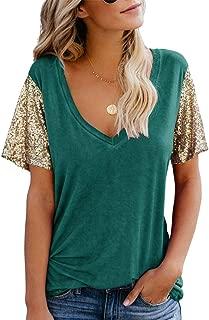 Topstype Women's Sequin Short Sleeve Tee V Neck T Shirts Sequin Loose Blouse Tops