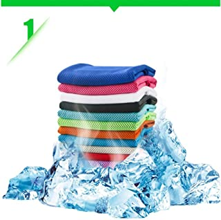 Cooling Towel for Instant Relief - Neck Wrap Fabric Scarf Headband Wristband Bandana Cold Ice Soft Bamboo Fiber for Running Yoga Travel Climb Biking Hiking Golf Football Tennis (Rose Red)
