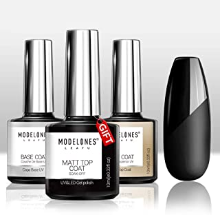 Modelones Set Matte Top Coat High Gloss Top Coat Base Coat,No Wipe Top Coat UV LED Gel Nail Polish Nail Lamp Soak Off Varnish 3Pcs 10ml