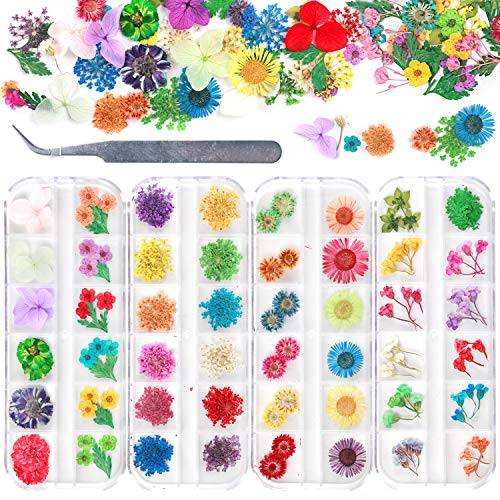 UOONY 4 Boxes Nail Dried Flowers, 48 Colors 3D Dry Flowers Mini Real Natural Flowers Nail Art Supplies with Tweezers for Tips Manicure Decor