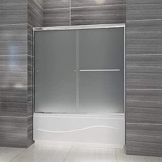 ELEGANT 58.5-60 in. W x 57 3/8 in. H Semi-Frameless Bypass 2 Sliding Tub Glass Door, 1/4 in. Frosted Shower Glass Door Panel, Chrome Finish