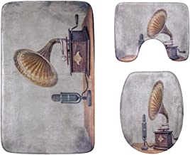 Old Gramophone with Horn Speaker Bathroom Rug Mats Set 3-Piece,Soft Shower Bath Rugs,Contour Mat and Toilet Seat Lid Cover...
