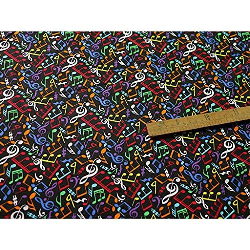 ANWUYANG BU 1 UNIDS 110cm Música Nota Imprimir Paño Popello De Algodón, Blanco Clásico/Negro/Colorfu Nota Musical Tela De Algodón Impreso para Bricolaje Decoración Hogareña (Color : Colored)