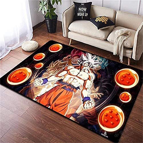 AZBYC Alfombra 3D Ectangle Dragon Ball Z Super Saiyajin Goku anime/dibujos animados para niños, alfombra de terciopelo para sala de estar, dormitorio, yoga, jardín de infancia, 50 x 80 cm