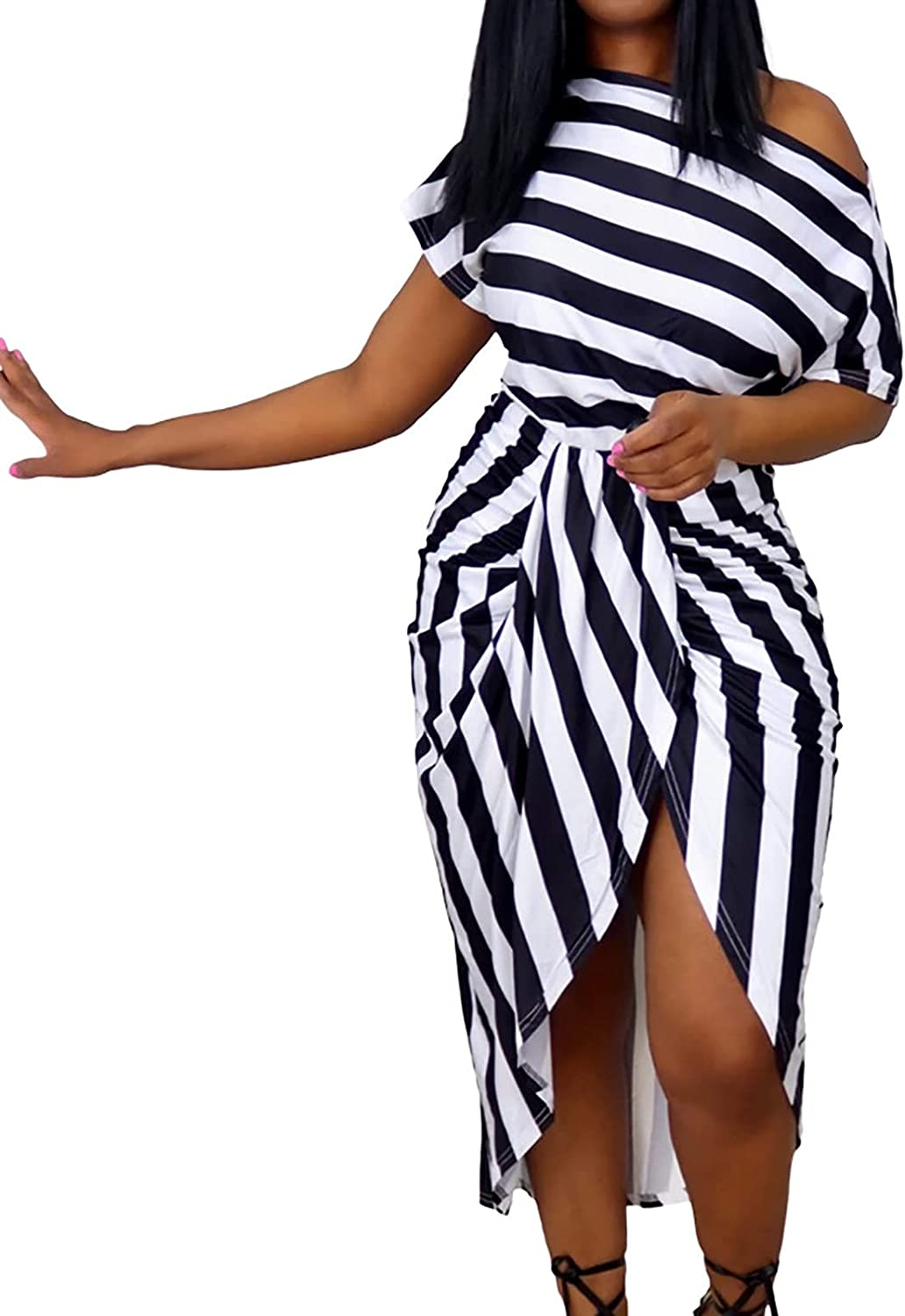 Women Off The Shoulder Dress Stripe Print Front Split Sexy Bodycon Hips-Wrapped Soft Midi Dress for Club Night Out