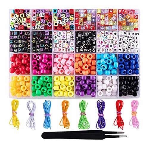 DIY Hecho a Mano con Cuentas Colorido Juguete para niños Cuentas de acrílico Manualidades para Hacer Collar Kit de joyería Juguete para niña Regalo