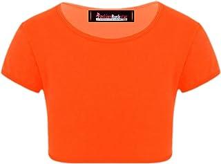 Filles à Manches Courtes Top Neuf Enfants Extensible Été T-shirt rose 2 3 4 5 6 7 8 ans