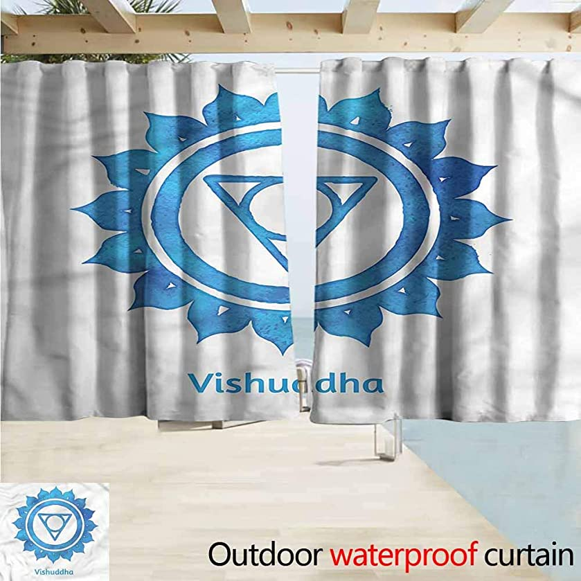 MaryMunger Outdoor Blackout Curtains Chakra Throat Sign Cosmic Sound Draft Blocking Draperies W55x72L Inches