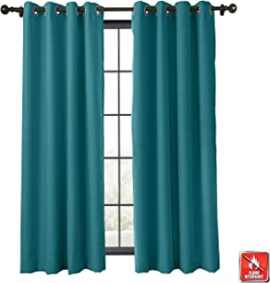 TWOPAGES Fire Resistant Wide Width Grommet Curtain, Window Drape Blackout Thermal Insulated Curtain Flame Retardant Curtain for Kitchen (Blue Green, 1 Panel, 120 x 84 Inches)