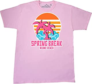 inktastic - Spring Break in Miami Beach with Palm Trees T-Shirt Large Pink 29056