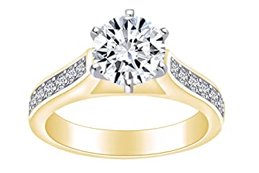 1 1/4 Carat Round Shape White Natural Diamond Solitaire Engagement Ring in 14k Solid Gold (1.25 Cttw)