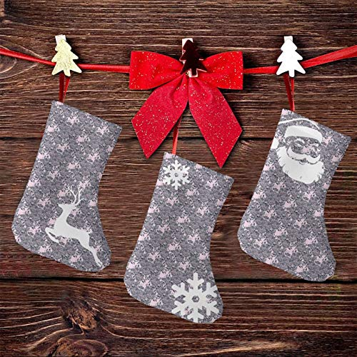(3 paquetes) calcetines de Navidad de 7.5 pulgadas, estilo vintage, campanas de flores, elementos naturales y perfumados, decoraciones de fiesta de Navidad