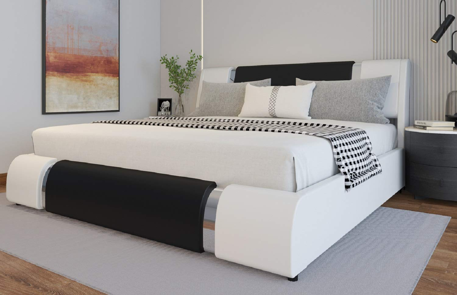 Sponsored Ad - Amolife Iron Piece Bed Frame/Deluxe Solid Upholstered Modern Bed Frame/Mattress Foundation, Black with Whit...
