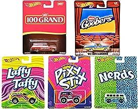 Sweet Hot Candy Wheels Pop Culture Willy Wonka 2017 Adventure Mix Nerds Volkswagen Wagon / Laffy Taffy / Pixy Stix + 2018 Goobers Ford Ranchero Pickup & 100 Grand Chevy Nova Bundle 6 car Set
