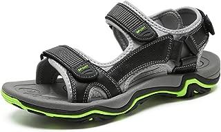 SHENLIJUAN Sandals for Men Outdoor Water Shoes Slip On Style OX Leather wear-Resisting Toe Hook&Loop Strap