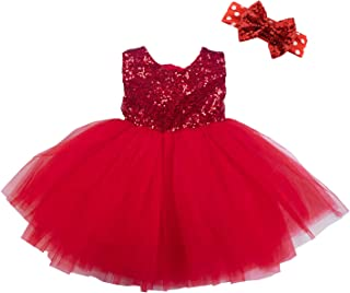 Girls Sequins Tutu Dress Stretchy Toddler Kids Tulle Dress for Pageant Birthday Party with Sparkle Bowknot Headband