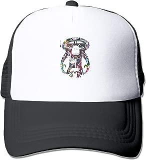 Space Monkey Celestial Graphic Trucker Hat Snap Back Sun Mesh Baseball Cap Hip Hop Flat Hats for Men and Women