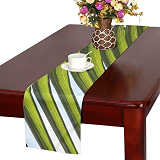 QYUESHANG Plant Green Nature Leaves Table Runner, Kitchen Dining Table Runner 16 X 72 Inch For Dinner Parties, Events, Decor