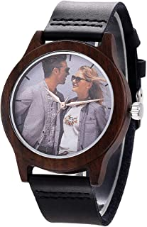 Custom Watch, Personalized Double-Side Engraved Wooden Watch with Photo/Message for Men/Women, Quartzily Black Leather Handmade Watch for Husband Anniversary Personalized Gifts