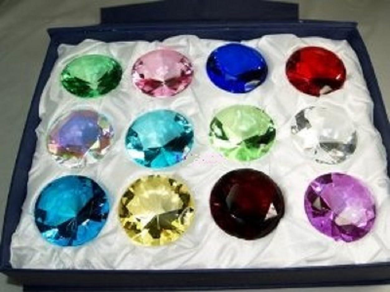 沈黙アイスクリーム勝つ50?mm Diamond Jewel Paperweightラウンドカットボックスセット12pcs