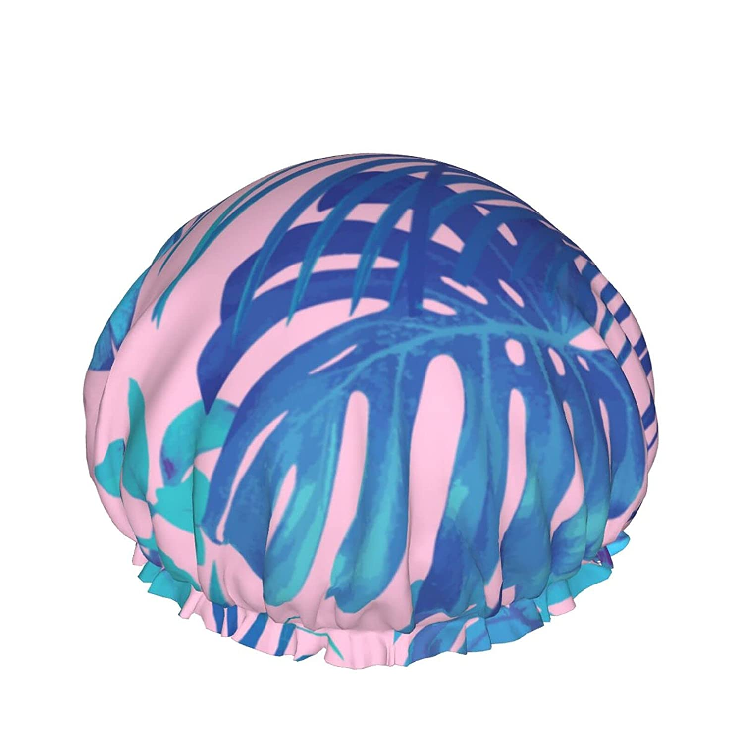 Double Layers Max 88% OFF Shower Cap Long-awaited Summer Bana Tropical Palm Exotic Floral