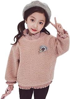 Tokuonn 女の子 パーカー キッズ トレーナー スウェット 子供服 モコモコ ハイネック 厚い 暖かい 可愛い 通園 通学