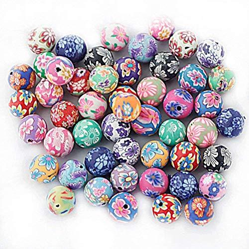 ROSENICE 50 Stück Runde Perlen Spacer Bead Blume Charm Mehrfarbig 10mm (Gemischte Farbe)