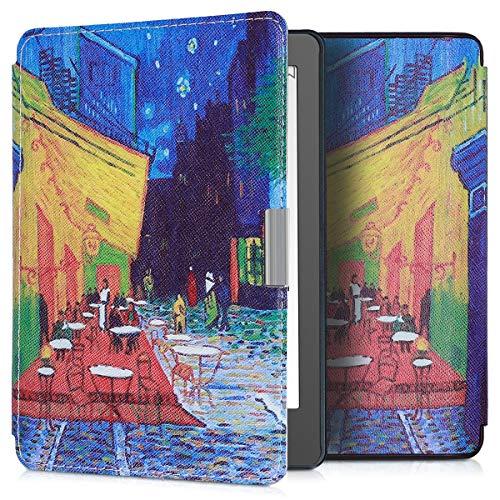 kwmobile Case Compatible with Kobo Aura Edition 2 - Book Style PU Leather e-Reader Cover - Café Terrace at Night Blue/Yellow/Orange