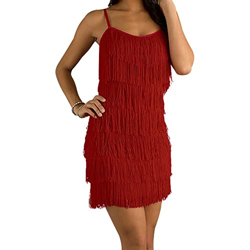 f05be62830 Cheryl Creations Women s Short All-Over Fringe Flapper Sleeveless  Comfortable Day Night Mini Dress