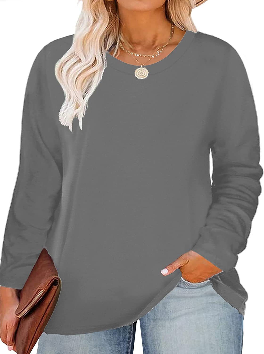 VISLILY Plus-Size Tops for Women Long Sleeve Casual Loose Shirts