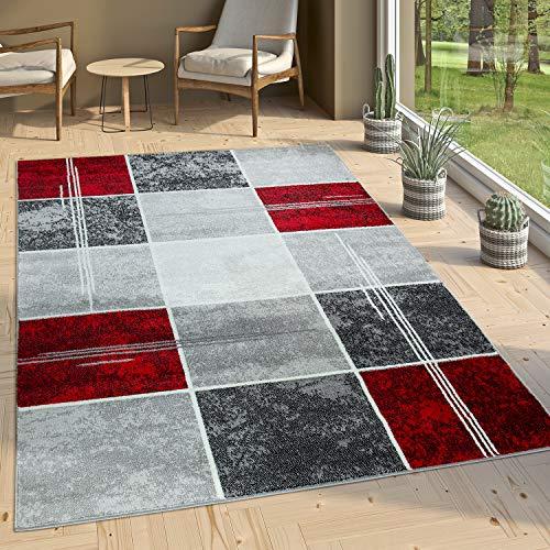 Paco Home Alfombra De Diseño - A Cuadros Efecto Mármol Jaspeado Gris Rojo Moteado, tamaño:160x220 cm
