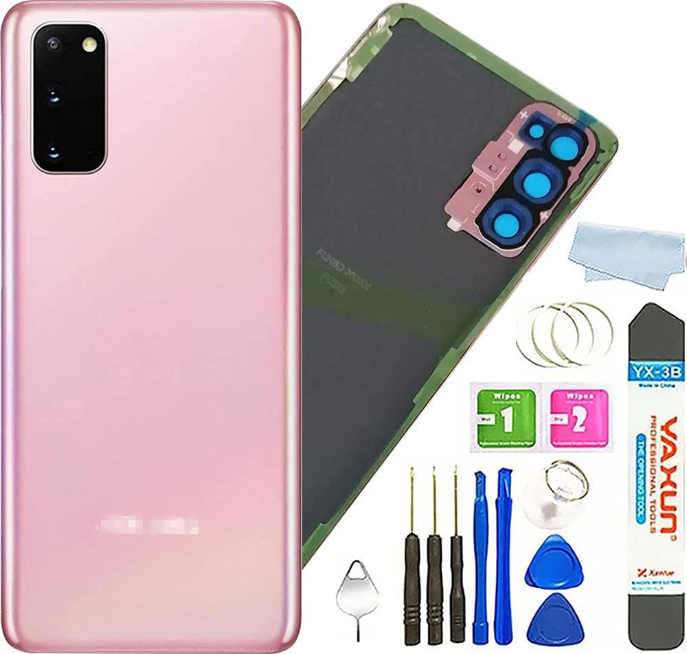 Galaxy S20 Back Cover Glass Housing Door with Camera Lens and Pre-Installed Tape Replacement for Samsung Galaxy S20 Back Glass +Tools (Cloud Pink)