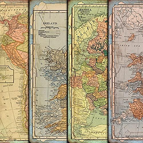 TTBH - Collage de Papel de Material de Fondo Retro de Gran tamaño, Mapa en inglés, Pegatinas de Mano para Viajes náuticos